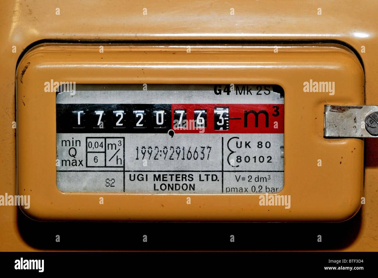 Gas-Messgerät verwendet, um das Volumen des inländischen Erdgasverbrauchs messen Stockbild