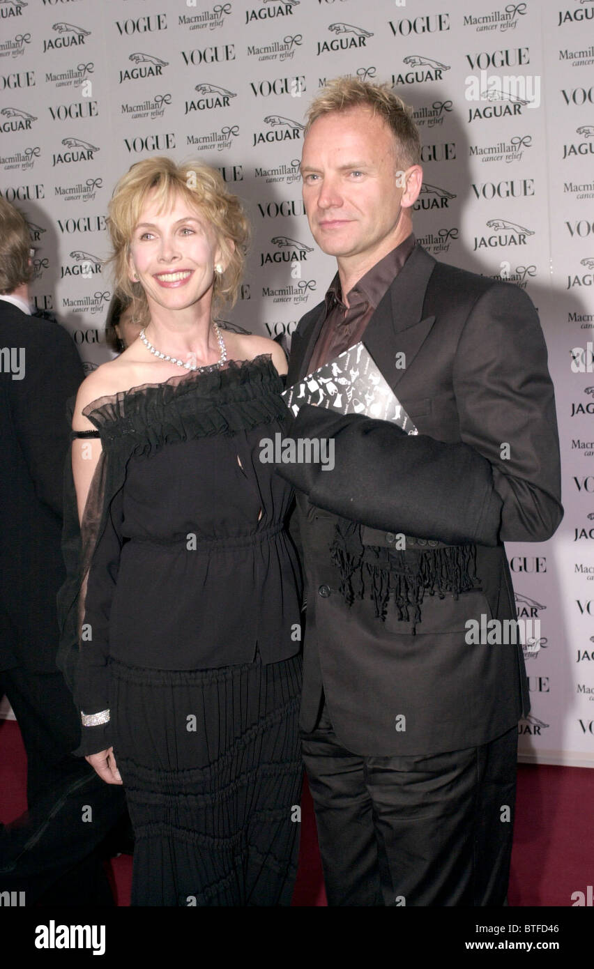 Sting und Frau Trudie Styler bei Krebs-Charity-Event in Waddesdon Manor, Buckinghamshire, Großbritannien Stockfoto