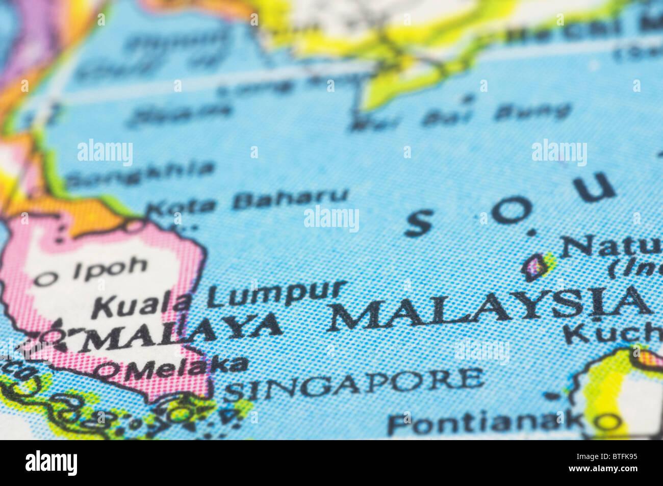 Asien Länder Karte.Malaysia Hautnah Auf Karte Südost Asien Länder Stockfoto Bild