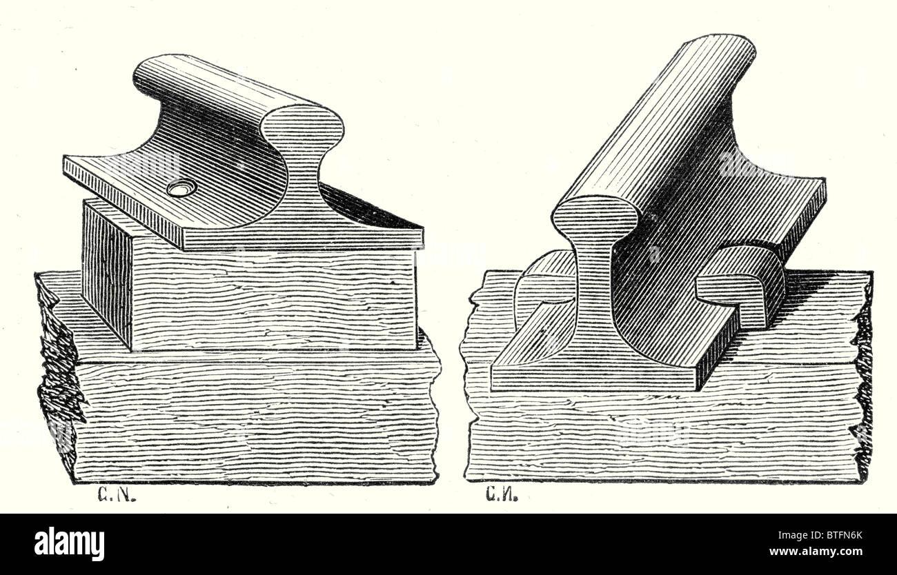 Beispiel für ein Rail-Pad und Vignoles rail Stockbild