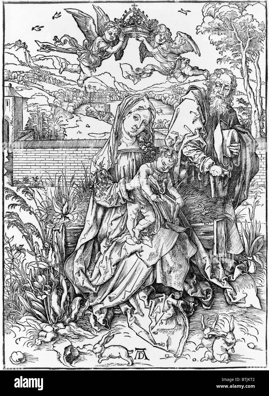 Die Jungfrau mit Kind hält ein Buch von Albrecht Dürer, ca. 1498. Stockbild