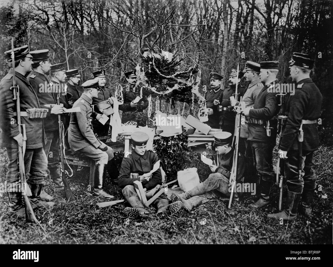 Ersten Weltkrieg, deutsche Soldaten Weihnachten, ca. 1914-1918 ...