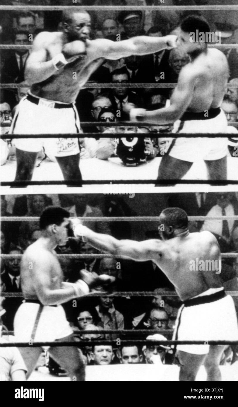 Die ersten Sonny Liston und Cassius Clay (Muhammad Ali) kämpfen in Miami, 1964 Stockbild