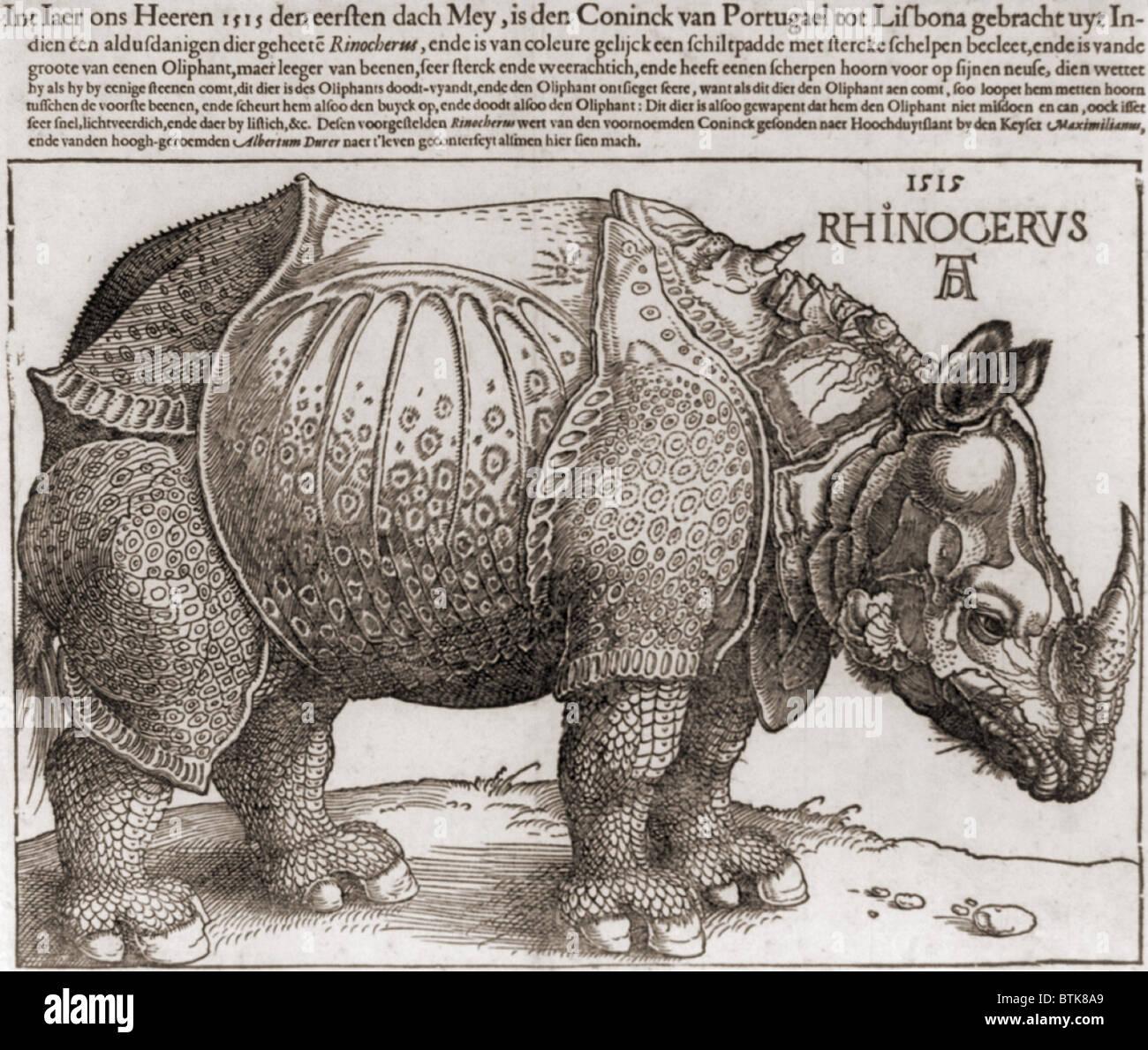 DAS Nashorn, Holzschnitt von Albrecht Dürer (1471-1528), gezeichnet von der Beschreibung von einem Panzernashorn. Stockfoto