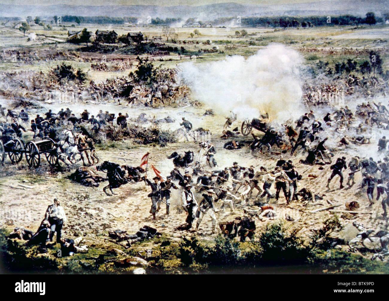 Die Schlacht von Gettysburg, Picketts Charge, 3. Juli 1863, Teil einer Panorama-Gemälde von Paul Philippoteaux Stockbild