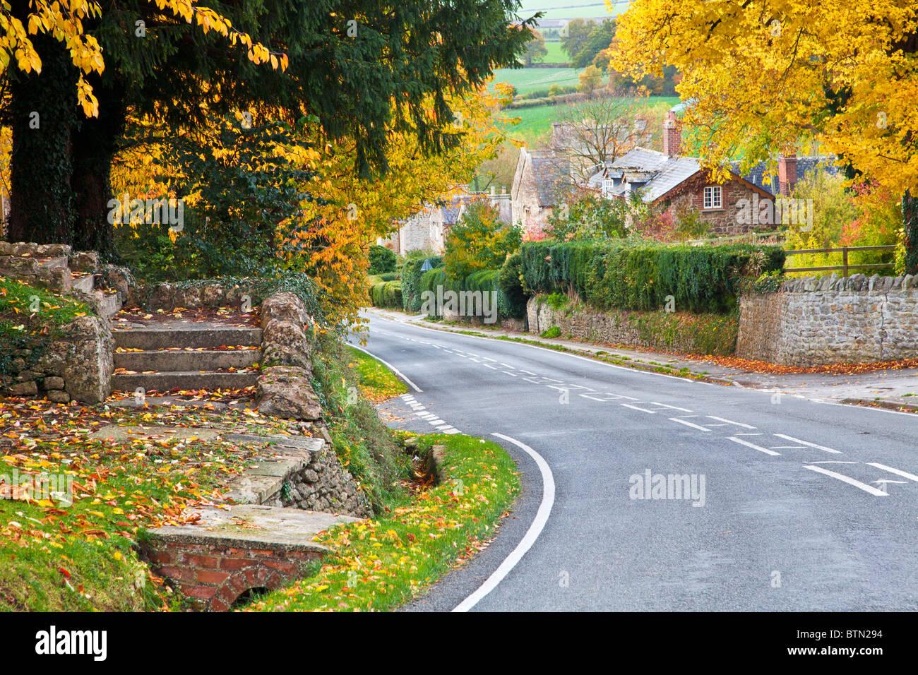 Herbstliche Ansicht über die Cotswold Landschaft aus dem Dorf Coleshill, Wiltshire, England, UK Stockbild