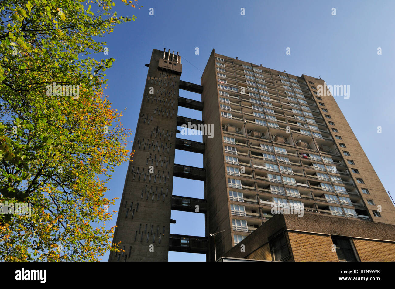 Balfron Tower, Brownfield für den sozialen Wohnungsbau Immobilien, Pappel, Tower Hamlets, East London E14, Stockbild