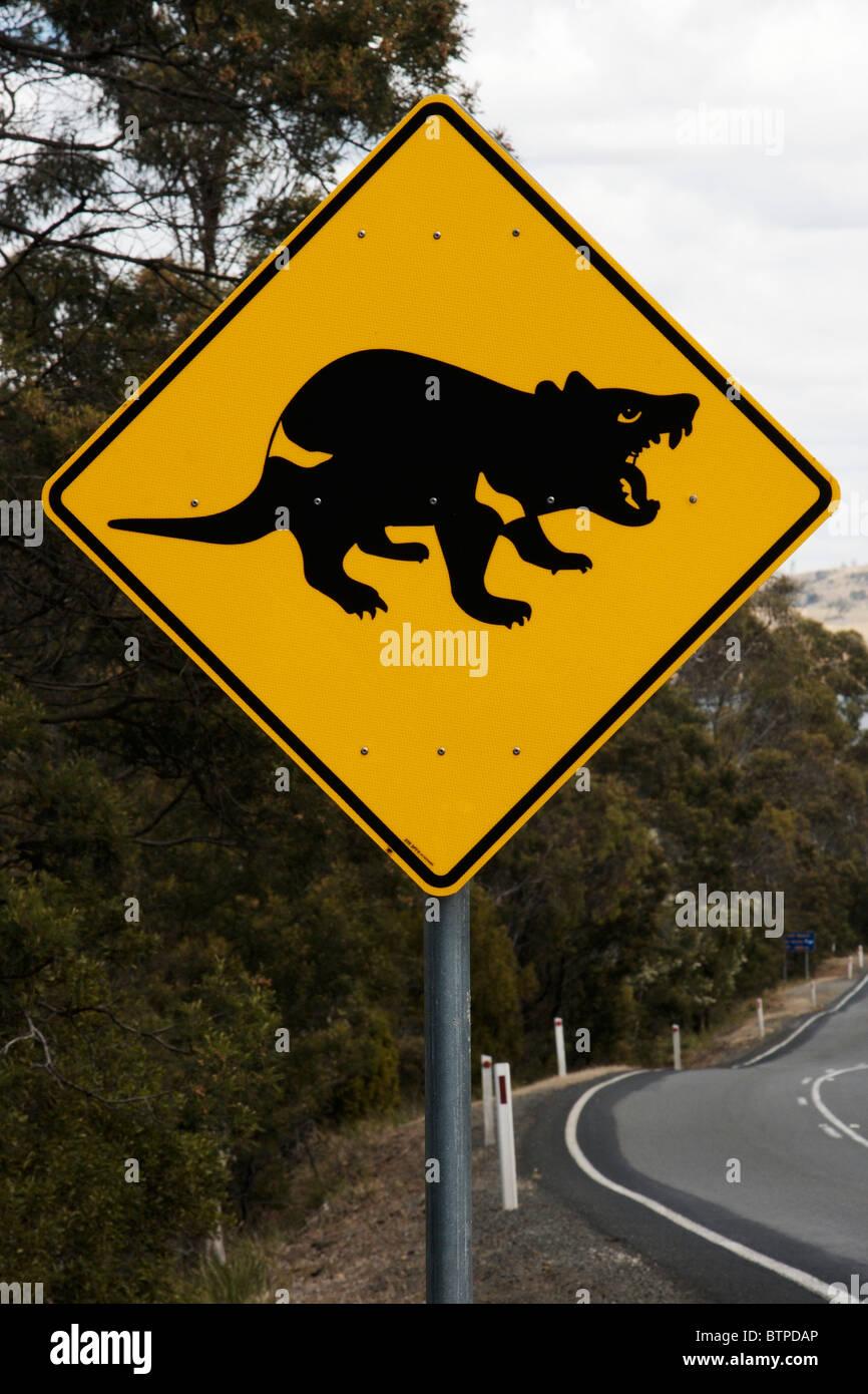 Australien, Tasmanien, Tasman Halbinsel, Tasmanische Teufel Kreuzung Zeichen Stockbild