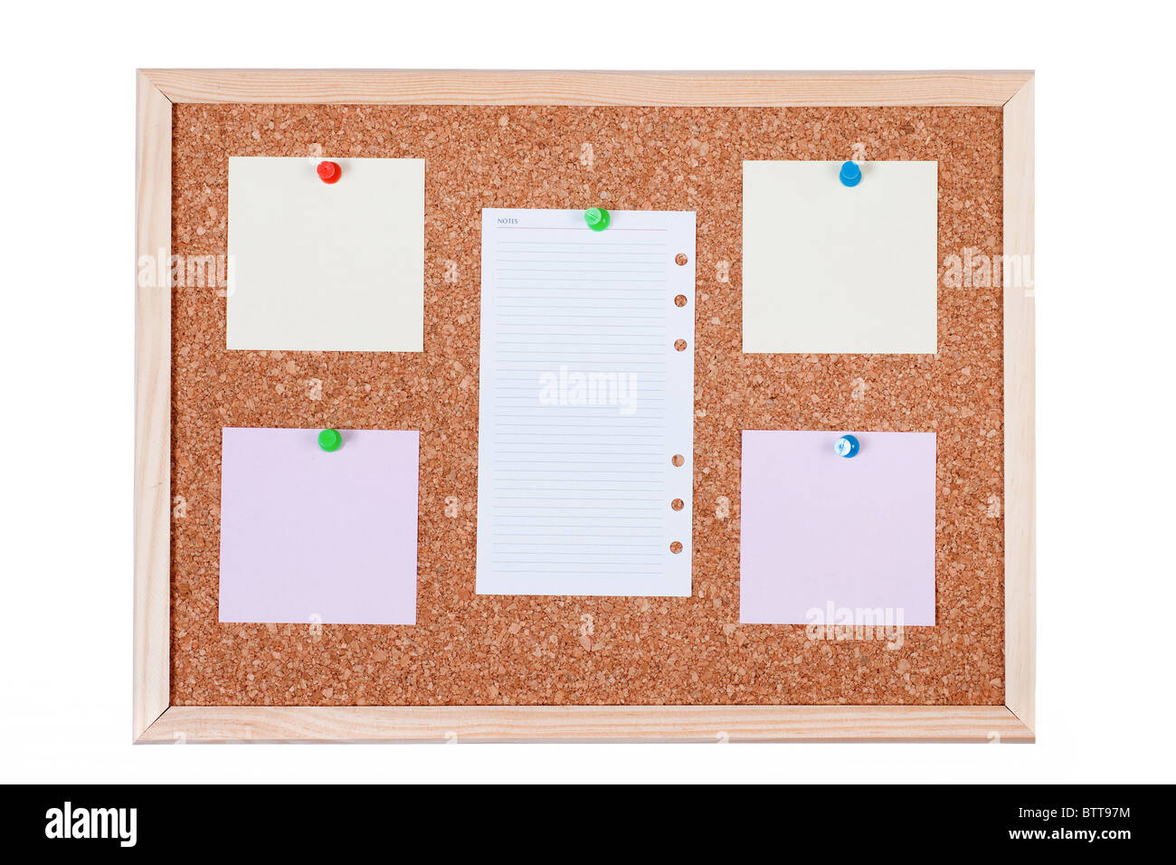 zettel hinweis auf einer kork pinnwand isoliert auf wei em hintergrund stockfoto bild. Black Bedroom Furniture Sets. Home Design Ideas