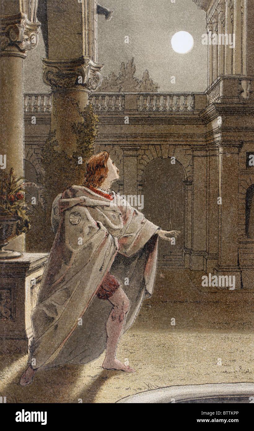 """Romeo spricht in Romeo und Julia, Akt II, Szene II von William Shakespeare. """"Aber, weich! was durch das Fenster Stockbild"""