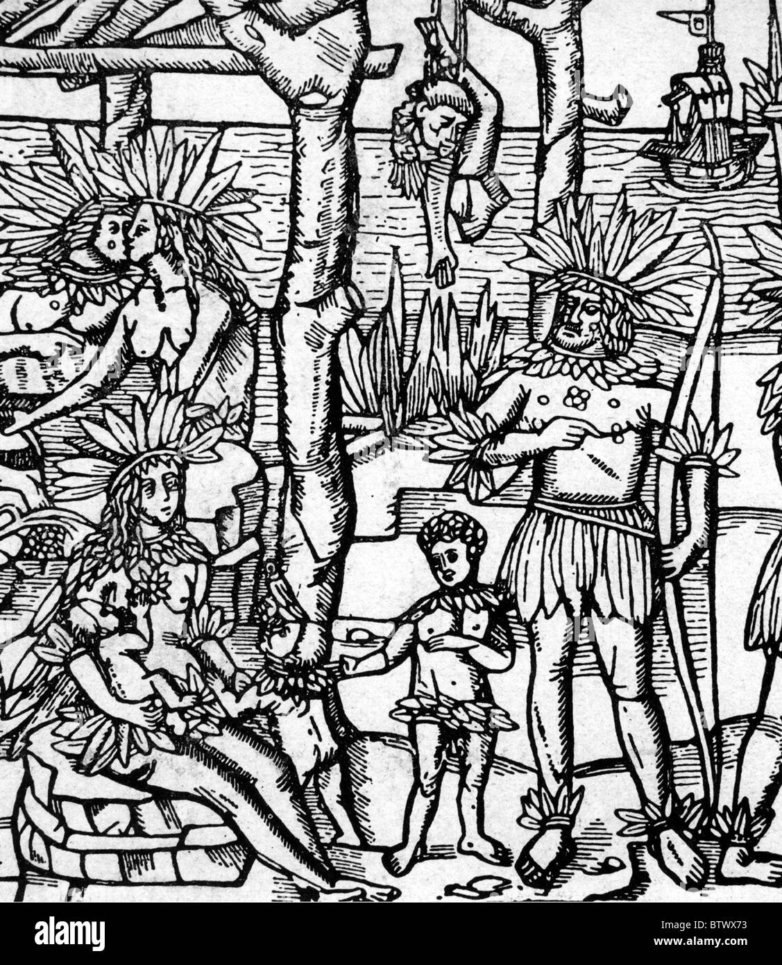 Spanische Entdecker GIOVANNI DA VERRAZZANO (1485-1528), wurde getötet und gegessen durch Kariben auf Guadeloupe Stockbild