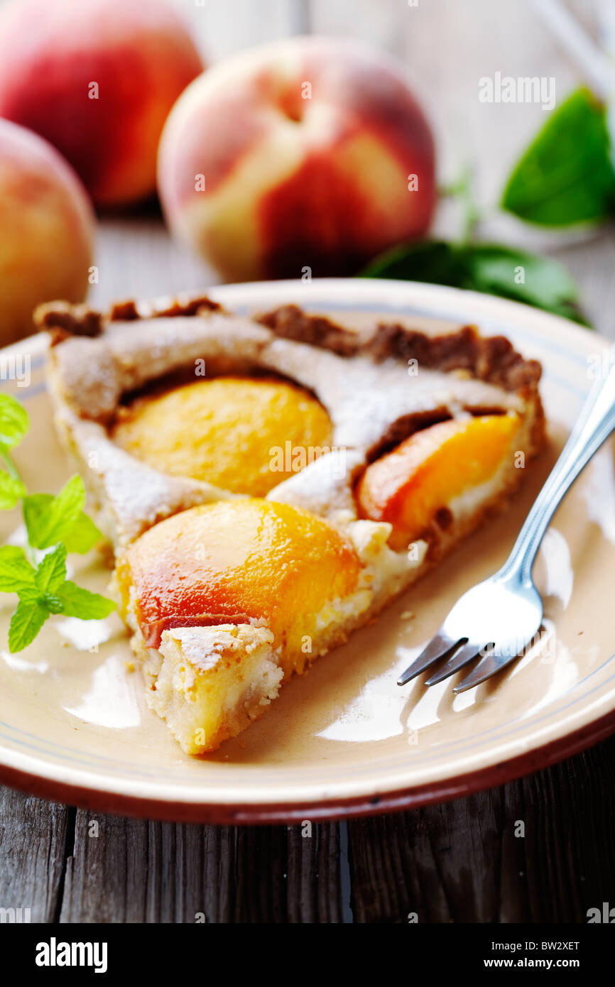 Pfirsich Torte Stück Stockbild