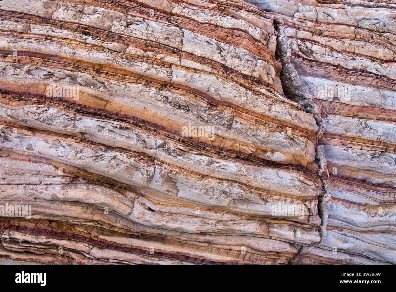 Boquillas Bildung Kalkstein und Schiefer verdreht Schichten im Ernst Canyon, Chihuahua-Wüste in Big Bend Nationalpark, Stockbild
