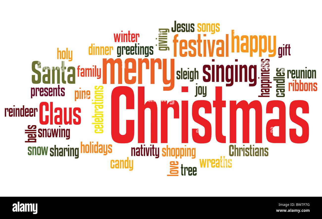 Weihnachten Hintergrund mit zufällige Wörter Layout Stockfoto, Bild ...