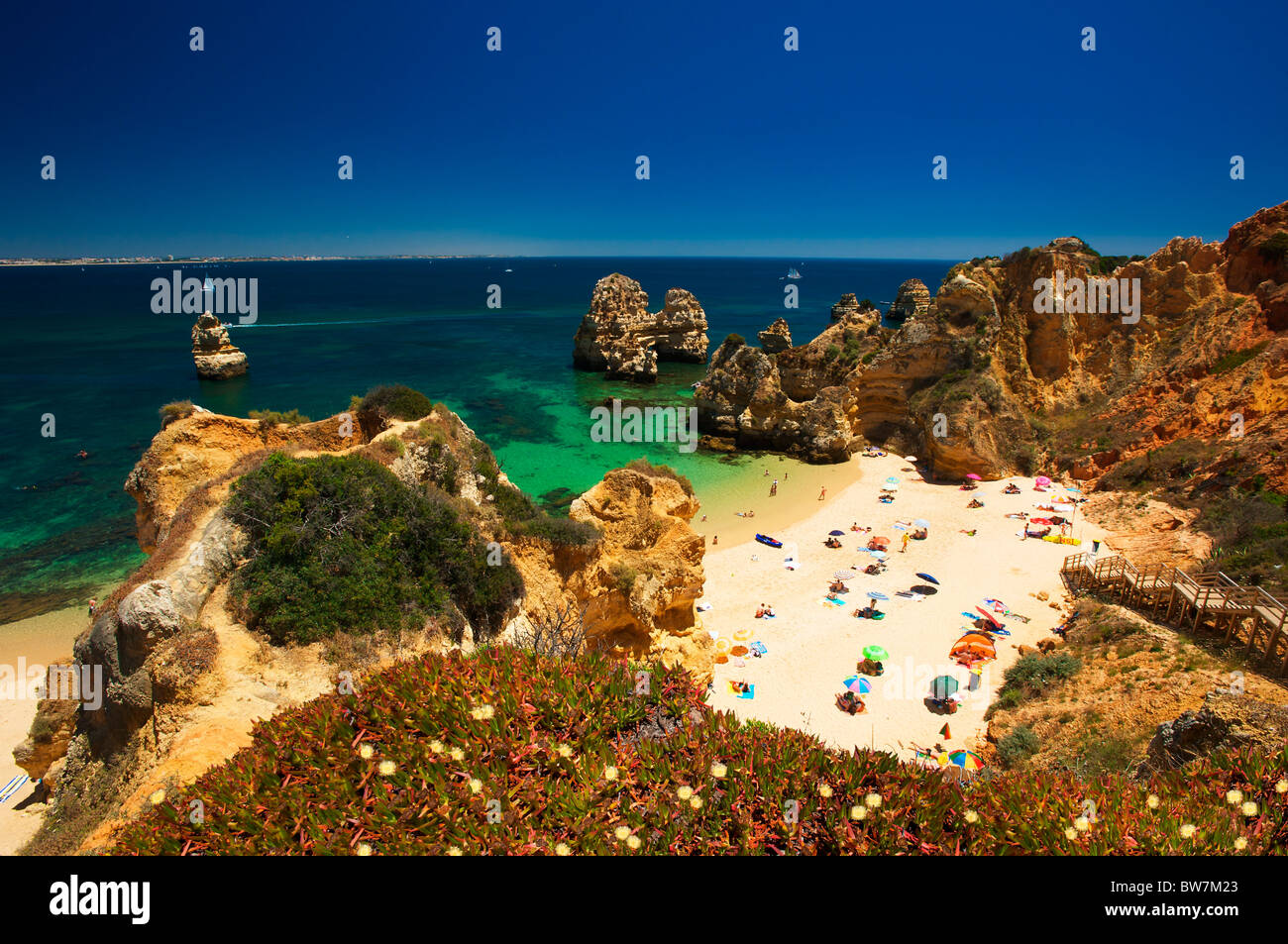 Praia Camilo, Algarve, Portugal Stockbild