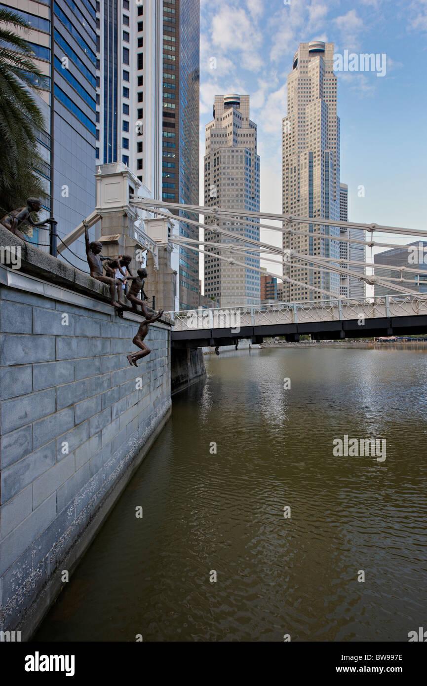"Skulptur von Ching Fah Cheong, genannt ""The First Generation"", Central Business District, Singapur Stockbild"