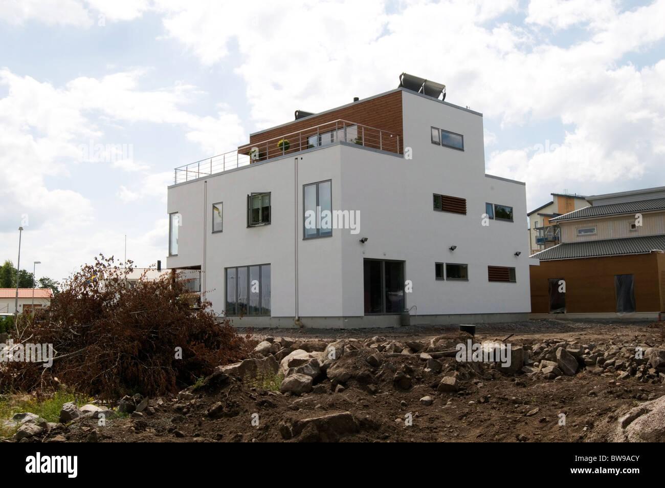Stockfoto schwedischen modernen haus immobilien häuser große pläne weiße moderne moderne zeitgenössische minimal minimalismus minimalistisch schweden