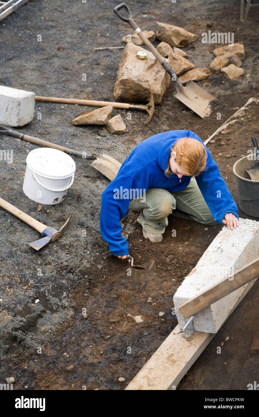 Archäologische Ausgrabungen unter der Leitung von Althing (das isländische Parlament) im Zentrum von Reykjavik, Stockbild