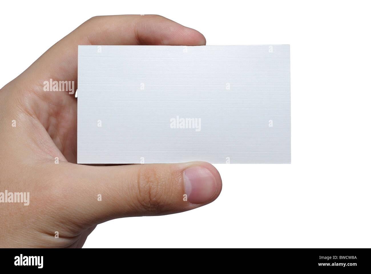 Hand Holding Leer Leere Weiße Visitenkarte Isoliert