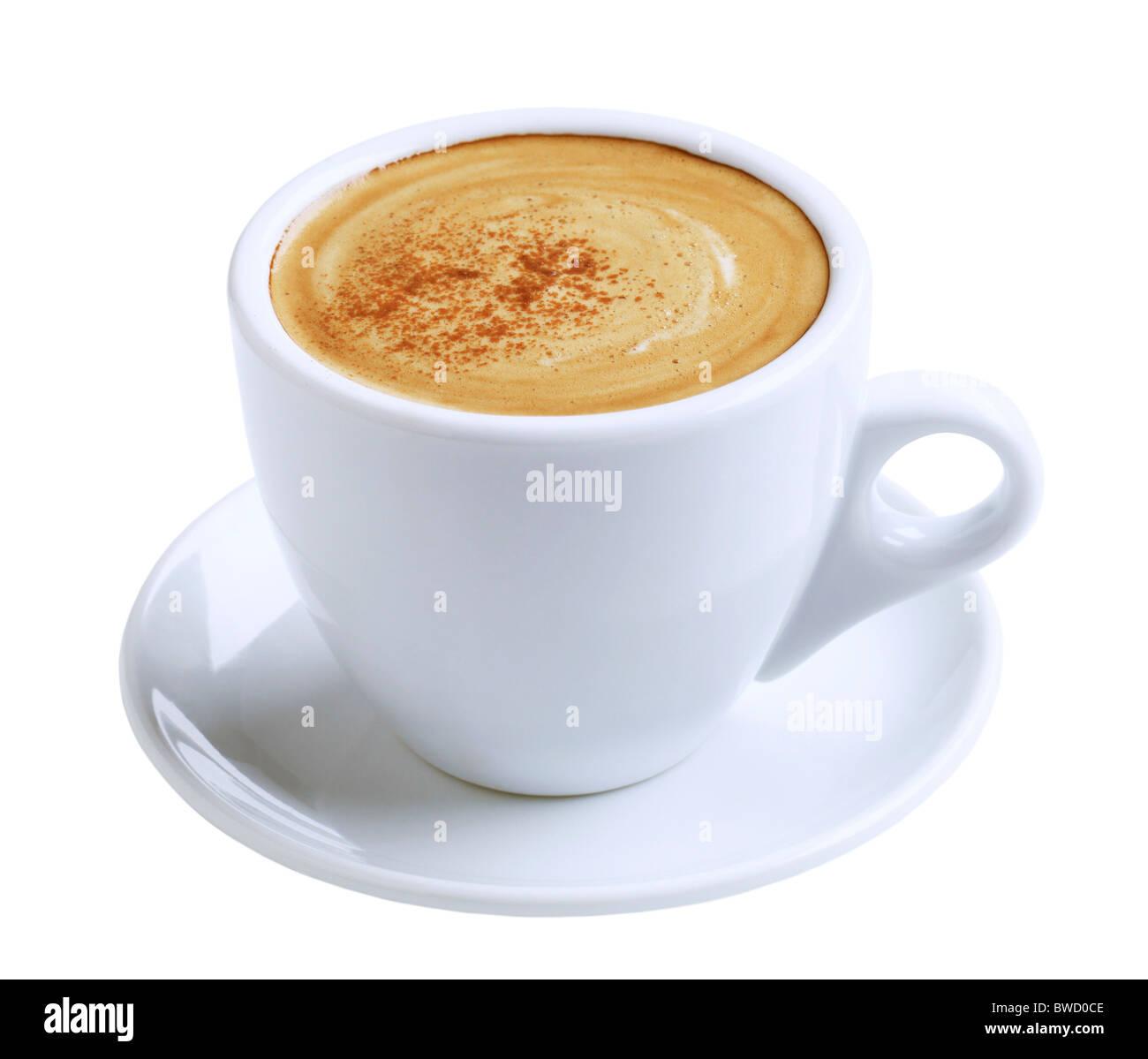 Tasse Kaffee mit Milchschaum und Zimt Stockbild