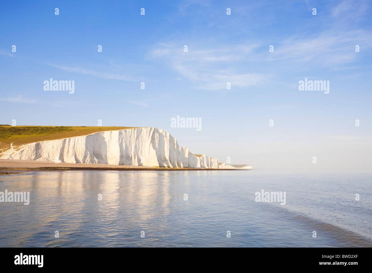 Sonnenuntergang am sieben Schwestern; East Sussex; England, Großbritannien Stockbild