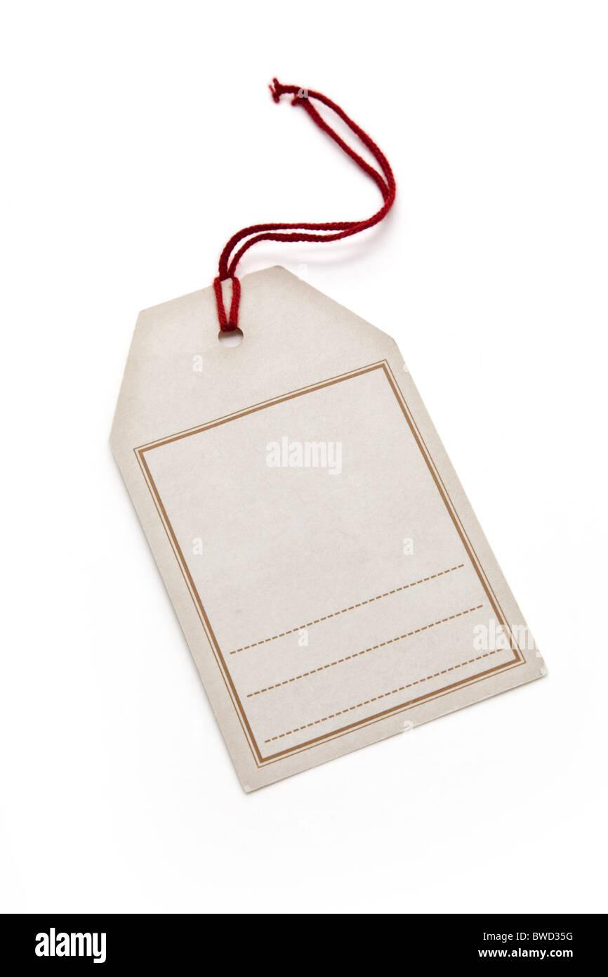 Preisschild mit weißem Hintergrund Stockbild