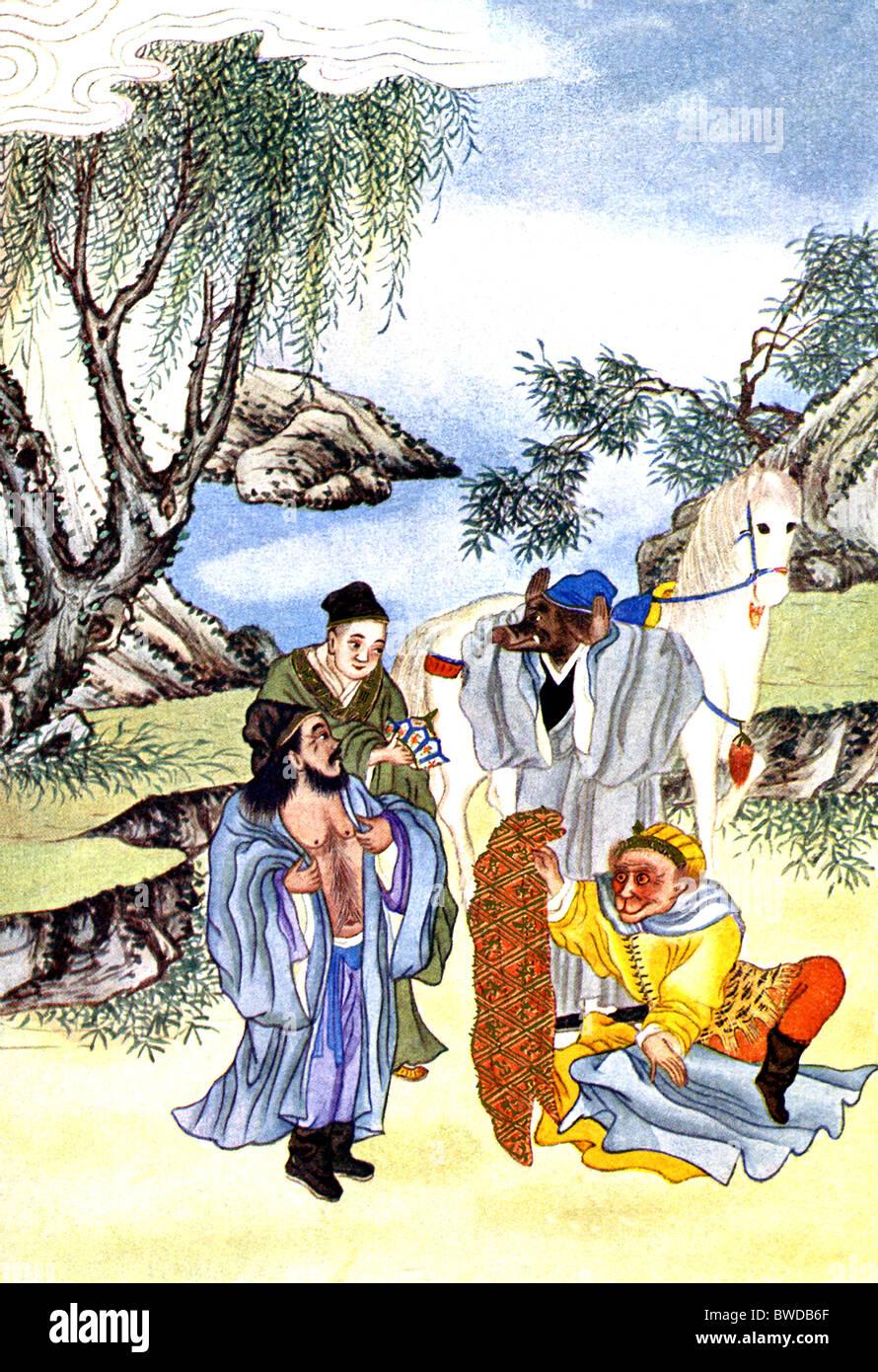 Der Priester Hsuan Chuang, bekannt als der Meister, reiste mit der Sonne, der Affengott, Land, dass exterminiert Stockbild
