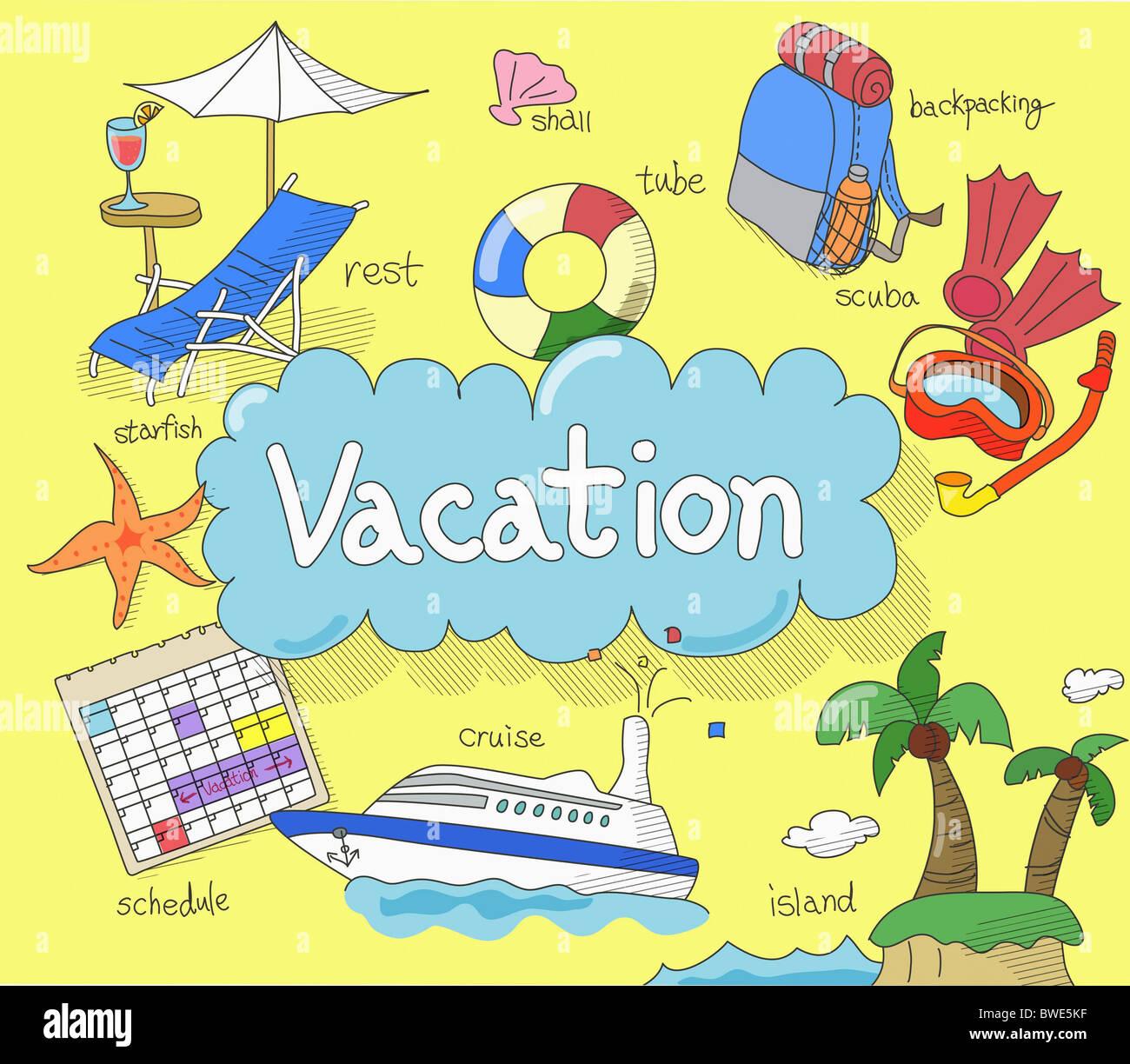 Illustration der Urlaubszeit Stockbild