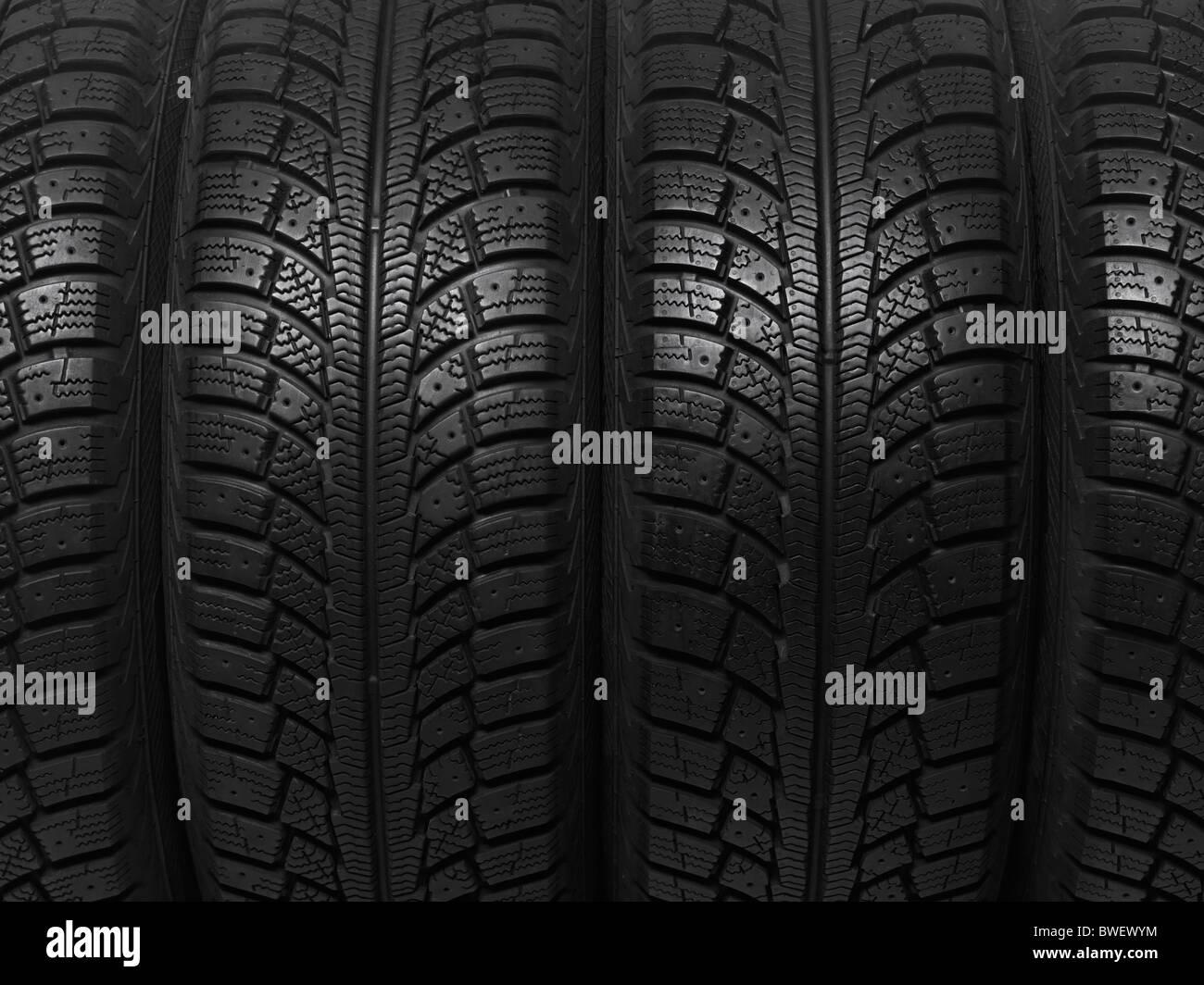 Nahaufnahme von ein Winterauto Reifen Hintergrundtextur Stockbild