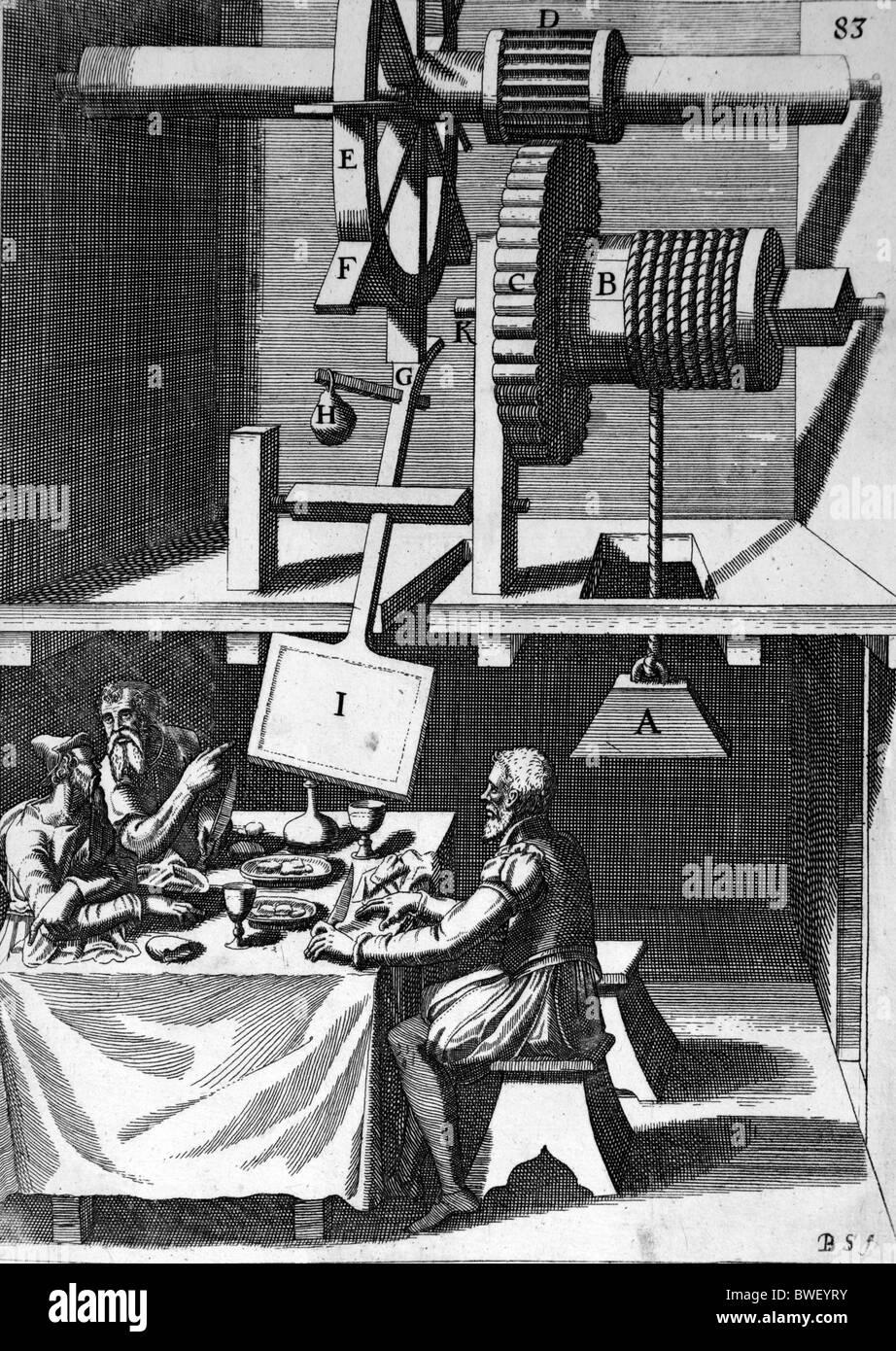 Illustration von Theatrum Machinarum Novum 1661 durch Georg Andreas Böckler; Eine mechanische Lüfter für Stockbild