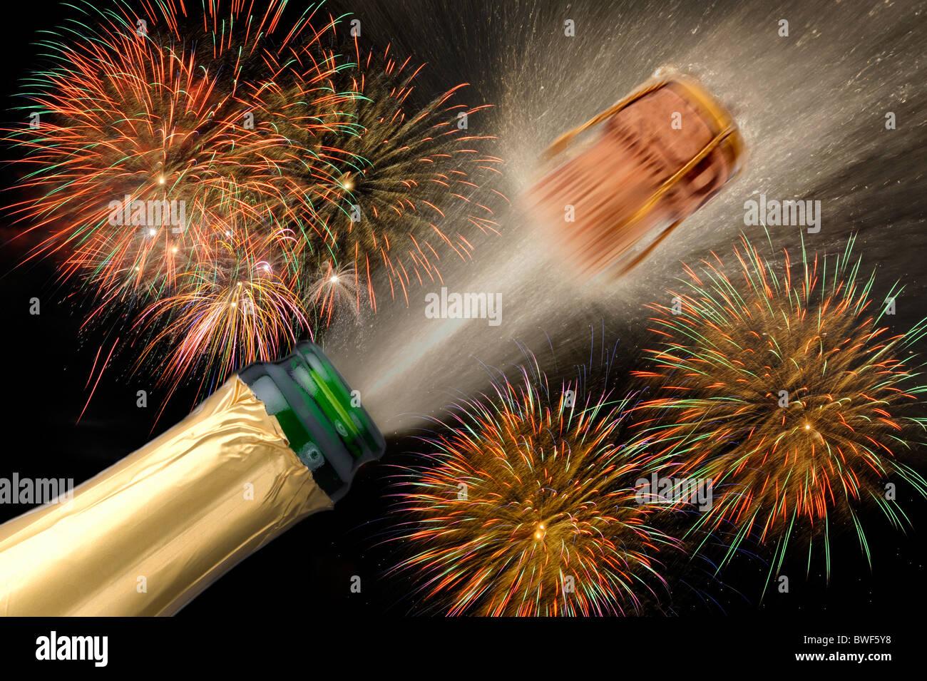 flasche champagner knallend auf neujahr silvester party. Black Bedroom Furniture Sets. Home Design Ideas