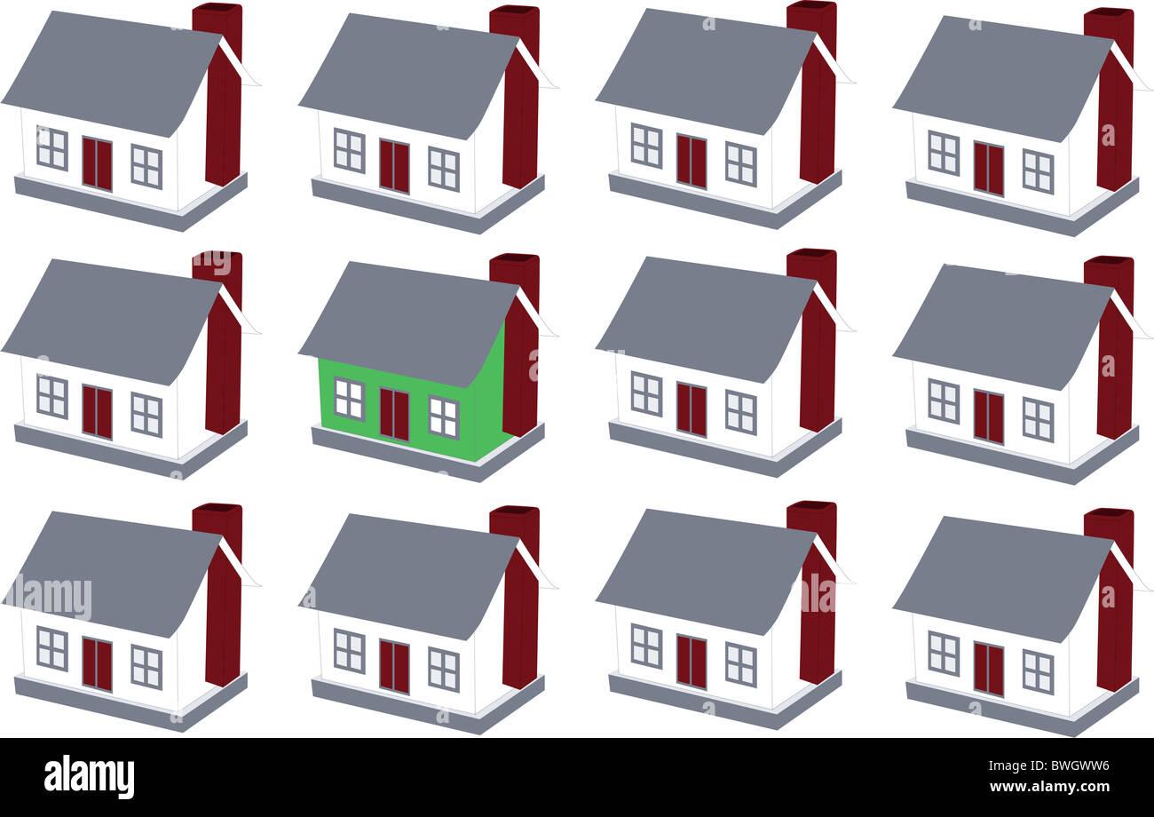 Gruppe von Häusern und einer herausragend in grüner Farbe Stockbild