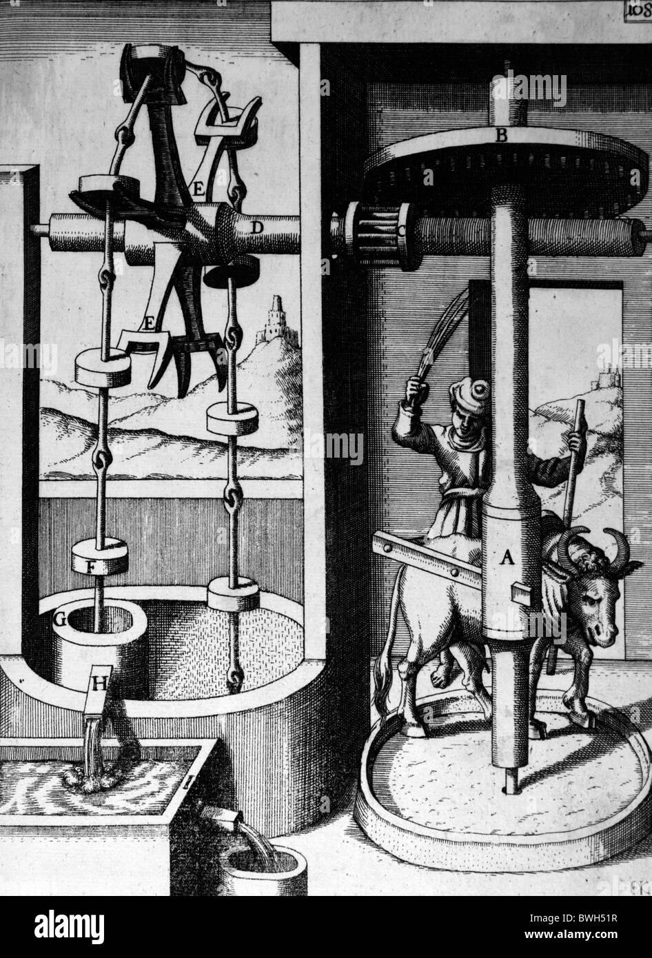 Illustration von Theatrum Machinarum Novum 1661 durch Georg Andreas Böckler; Ein Ochse betriebene Spülpumpe Stockbild