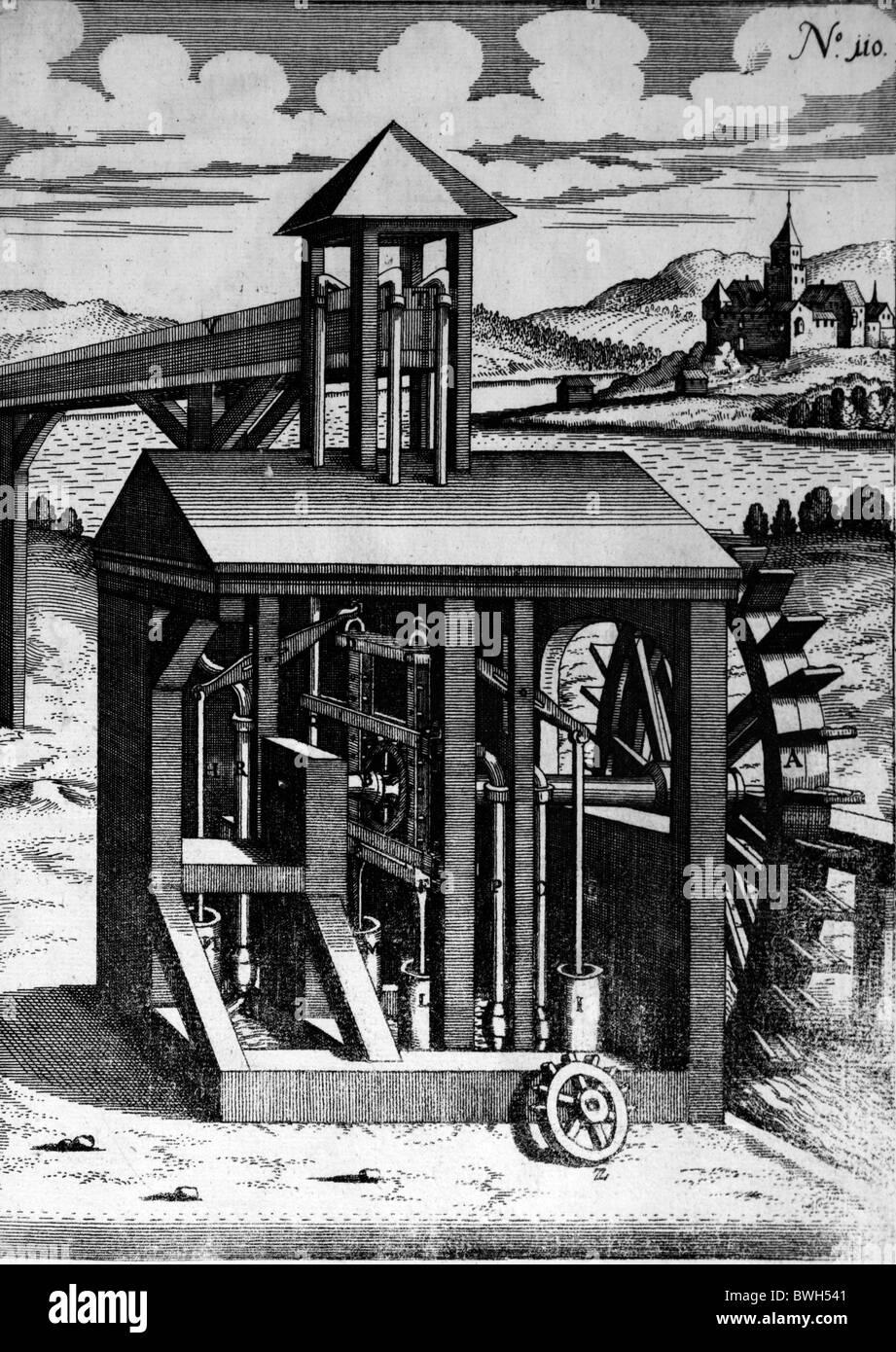 Illustration von Theatrum Machinarum Novum 1661 durch Georg Andreas Böckler; Eine Wasserpumpe angetrieben Bewässerung Stockbild