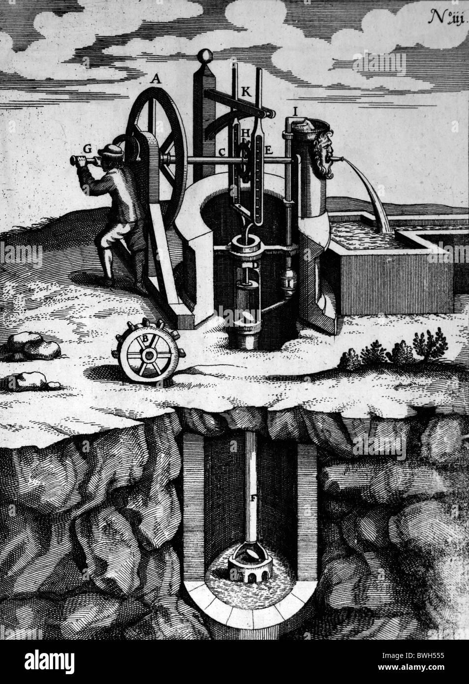 Illustration von Theatrum Machinarum Novum 1661 durch Georg Andreas Böckler; Eine Hand betriebene Spülpumpe Stockbild