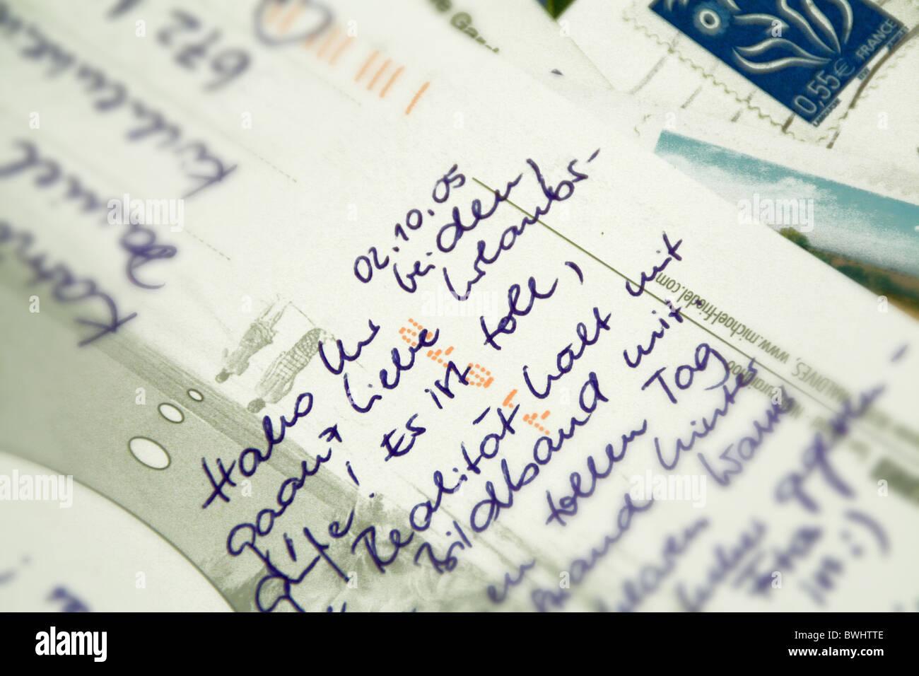 Grüße Postkarte Postkarten Brief Briefmarke Geschrieben Schreiben