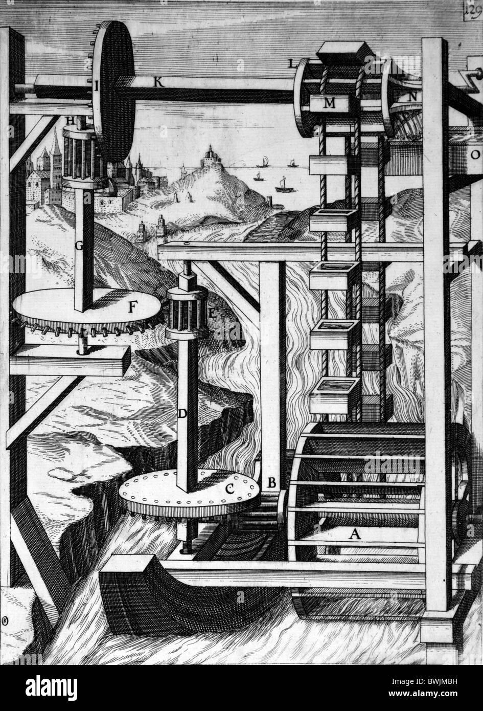 Gravur von Theatrum Machinarum Novum 1661 durch Georg Andreas Böckler; Wasser-angetriebene Kette oder Seil Stockbild