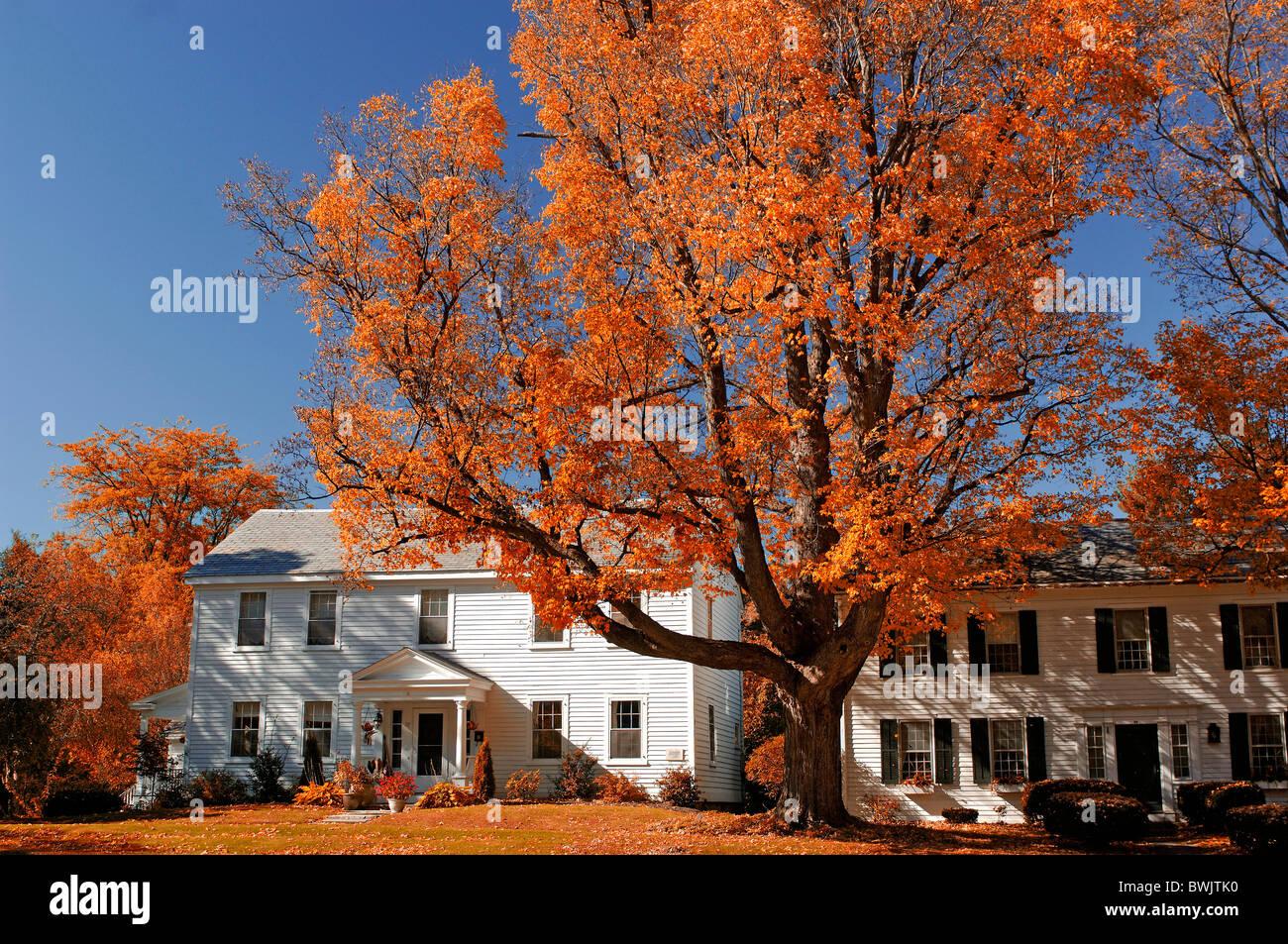 Häuser Häuser Wohnhaus s weiß Herbst Old Bennington Indian summer Vermont USA Amerika Vereinigte Stockbild