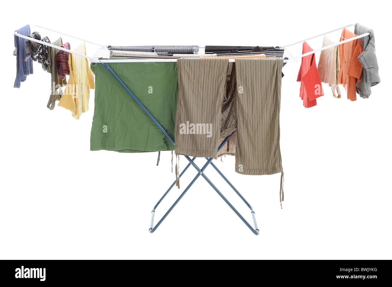 Trocknen Von Wäsche Kleidung Auf Dem Wäscheständer Stockfoto Bild