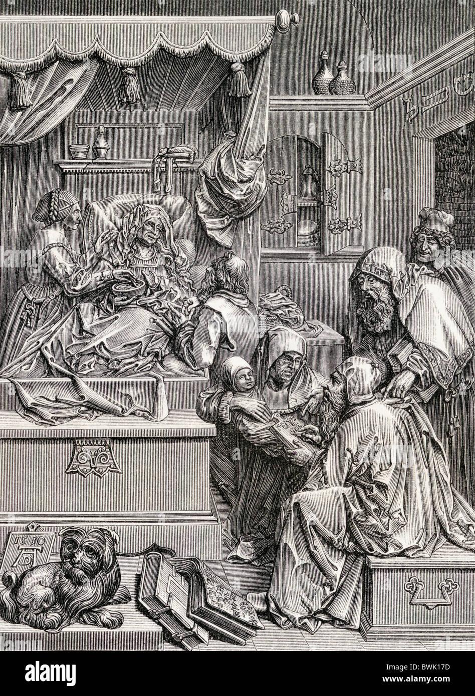 Hochrelief-Skulptur von Albrecht Dürer der Geburt von St. John. 16. Jahrhundert. Stockbild