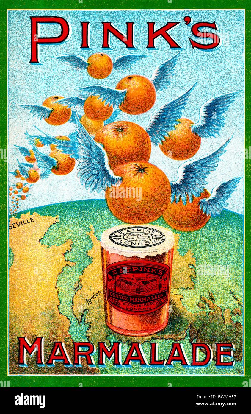Rosa Marmelade, 1890-Anzeige für die größten Hersteller der Welt zeigt Orangen über von Sevilla nach London fliegen Stockfoto