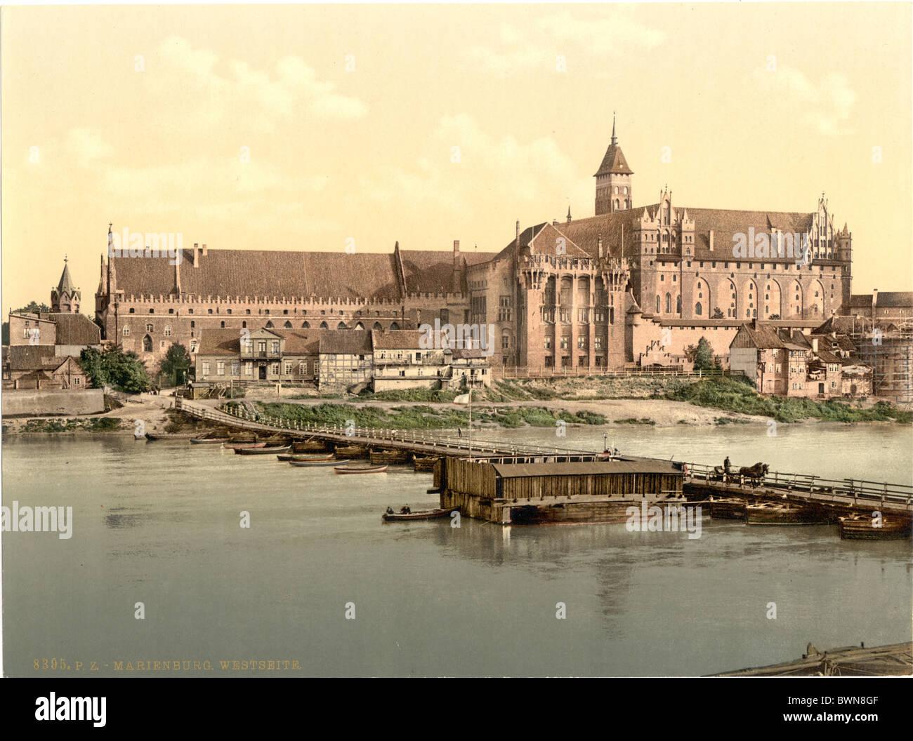 Marienburg Westpreußen Seite früher Deutschland Europa Marienburg Polen Photochrom über 1900 Geschichte Stockbild