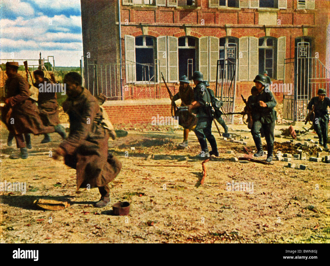 Invasion von Frankreich Juni 1940 Geschichte historische historische Deutsch-französische Truppen Soldaten Stockbild