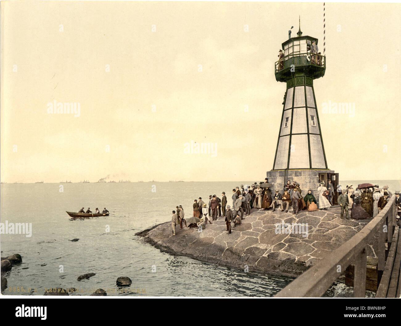 Danzig-Neufahrwasser Westpreußen früher Deutschland Europa Deutsche Reich Polen Photochrom über 1900 Stockbild