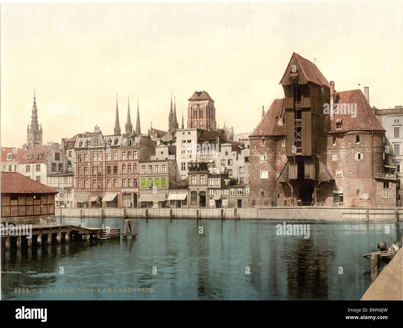 Krantor Danzig-Westpreußen früher Deutschland Europa Deutsche Reich Polen Photochrom um 1900 Geschichte Stockbild