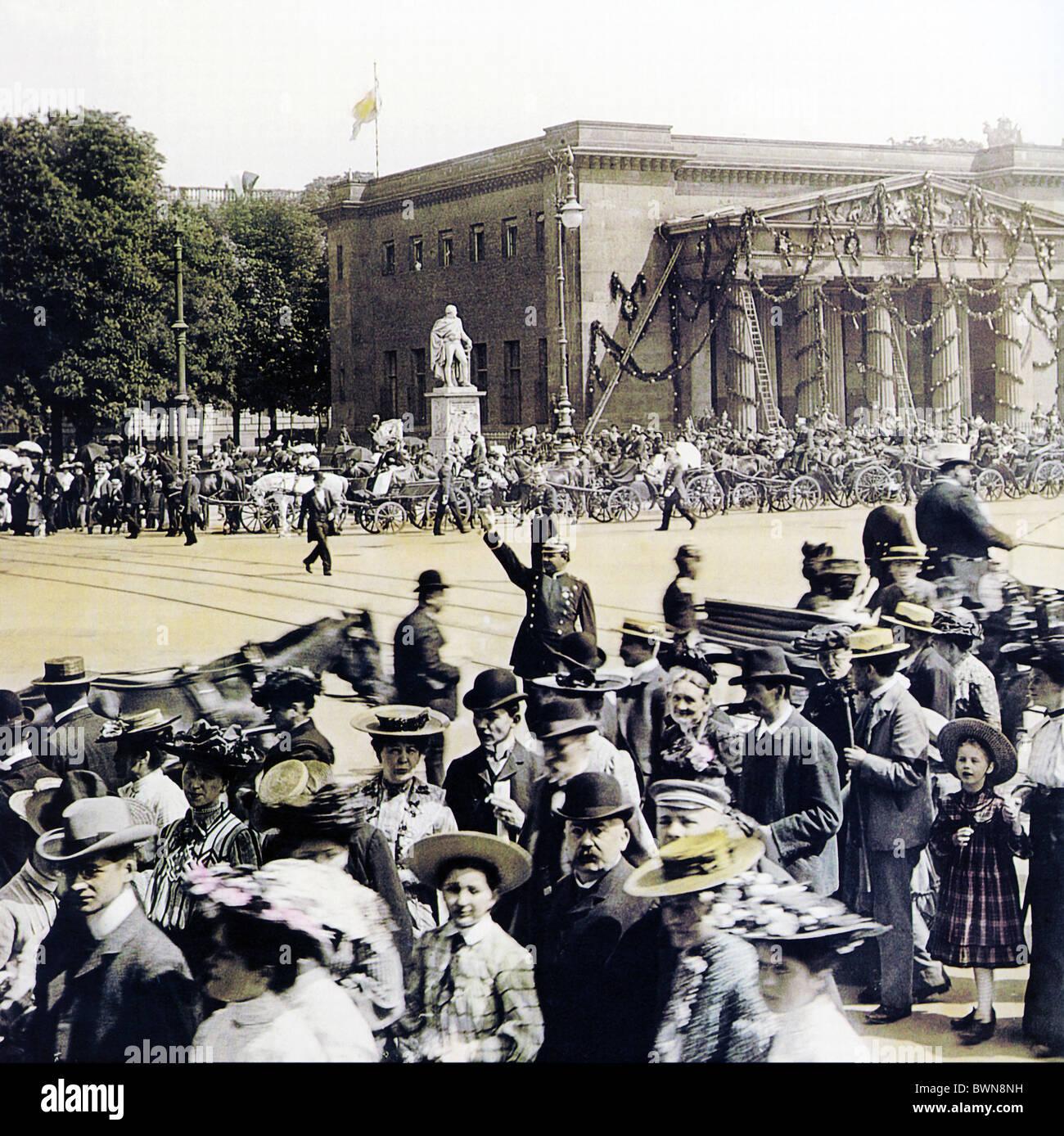 1905 Berlin Neue Wache Juni 3 Geschichte historische historische Deutschland Europa Deutsche Reich Parade Menge Stockbild