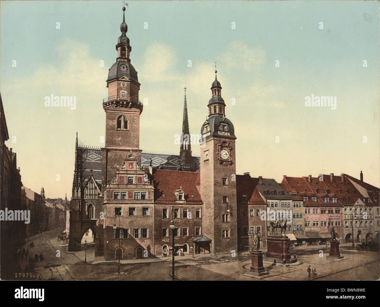 Chemnitzer Rathaus drei Statuen Graf Otto von Bismarck Kaiser Wilhelm i. Generalfeldmarschall von Moltke Foto Stockbild