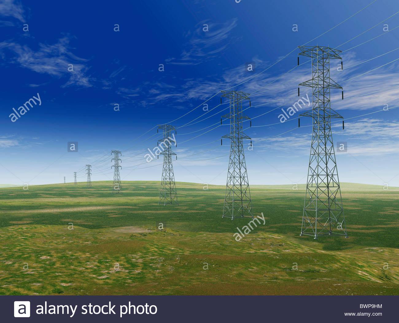 Strommasten auf abgelegenen Gebiet Stockbild
