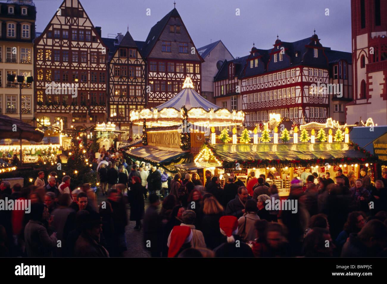 deutschland europa frankfurt am main weihnachtsmarkt romer hessen d mmerung nacht abends. Black Bedroom Furniture Sets. Home Design Ideas