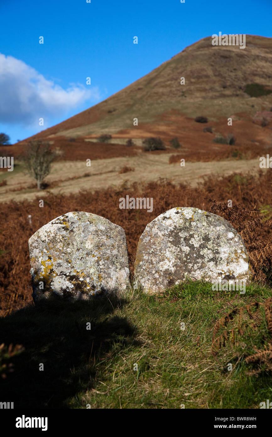 Alte steinerne Grenzmarkierungen an der Steckdose Hügel Powys Wales UK Stockbild